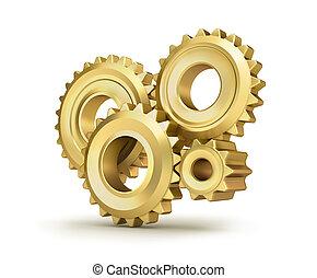 gyllene, över, vit, kugge, utrustar