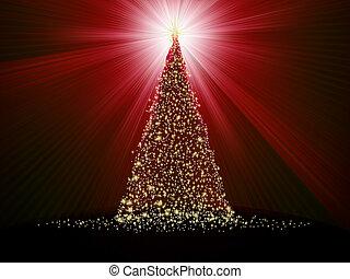 gyllene, 10, abstrakt, träd, eps, red., jul
