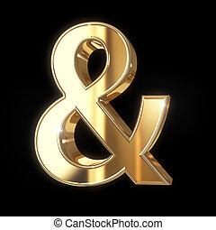 gyllene, 3, et-tecken, symbol, med, snabb bana, -, isolerat, på, svart fond
