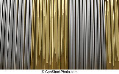 gyllene, 3d-illustration, design, silver, bakgrund