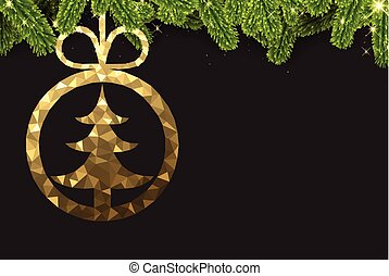 gyllene, abstrakt, ball., jul, bakgrund