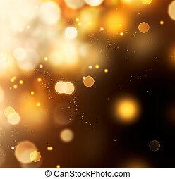 gyllene, abstrakt, bokeh, bakgrund., guld damma, över, svart