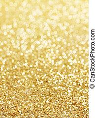 gyllene, abstrakt, defocused, bakgrund, lyse
