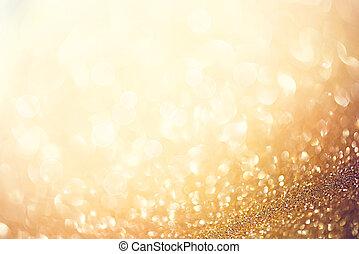 gyllene, abstrakt, defocused, bakgrund, med, förbaskad,...