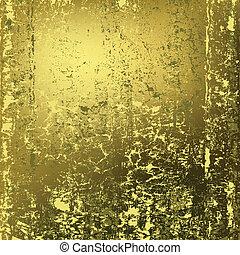 gyllene, abstrakt, metall, struktur, rostig, bakgrund