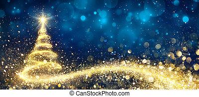 gyllene, abstrakt, träd, jul, natt