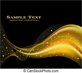gyllene, abstrakt, vektor, bakgrund