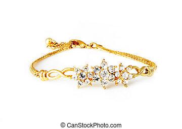 gyllene, armband, isolerat