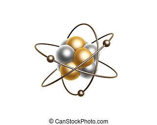 gyllene, atom, struktur