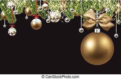 gyllene, ball., grå, bakgrund, jul