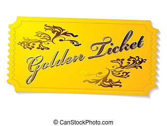 gyllene, biljett, vinnande
