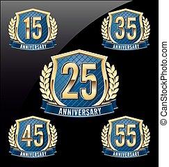 gyllene, blå, årsdag, emblem, 25th