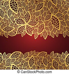 gyllene, blad, spets, bakgrund, röd