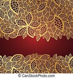 gyllene, blad, spets, på, röd fond