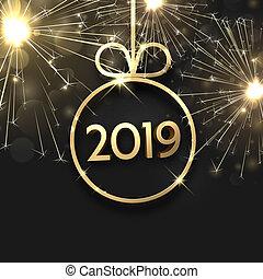 gyllene, boll, 2019, firework., år, färsk, julkort