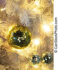 gyllene, boll, bakgrund, lätt, bokeh, utsmyckningar, år, färsk, lov