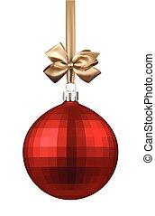 gyllene, boll, jul, bow., röd
