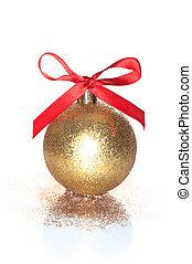gyllene, boll, utrymme, text, bakgrund, vit jul