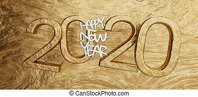 gyllene, breven, dristig, 3d-illustration, 2020, bakgrund, år, färsk, lycklig