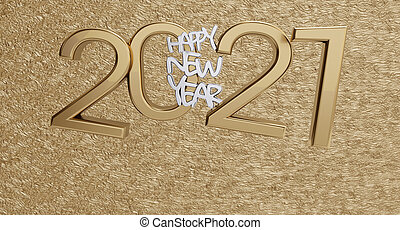gyllene, breven, dristig, 3d-illustration, 2021, bakgrund, år, färsk, lycklig