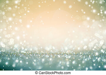 gyllene, christmasferie, glödande, defocused, bakgrund