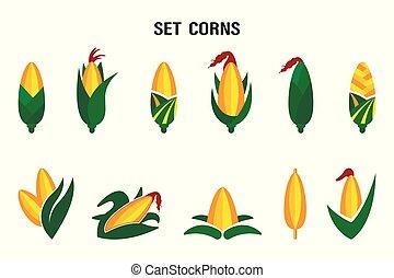 gyllene, corn., sätta, sommar, lantgård, söt, kvalitativt, vektor, design, toppmodern, original, elementara