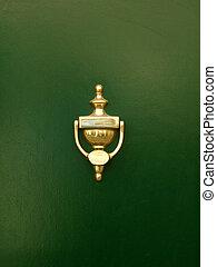 gyllene, dörr portklapp