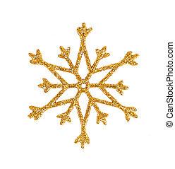 gyllene, decoration., träd, isolerat, jul, white., snöflinga