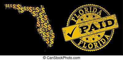 gyllene, dollar, collage, av, mosaik, karta, av, florida tillstånd universitet, och, betald, skrapet, försegla, stämpel