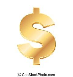 gyllene, dollar, illustration, underteckna, vektor, bakgrund, vit
