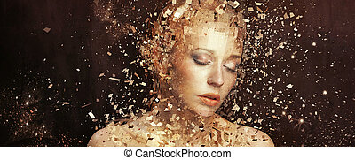 gyllene, elementara, konst, splintering, foto, kvinna, tusenden