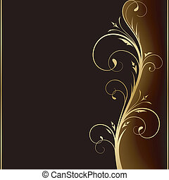 gyllene, elementara, mörk, elegant, design, bakgrund, blommig