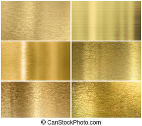 gyllene, eller, mässing, metall, struktur, eller, bakgrund,...