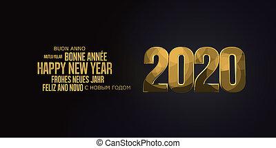 gyllene, flerspråkig, 2020, bakgrund, svart