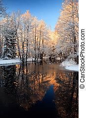 gyllene, flod, solnedgång, vinter