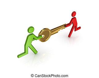 gyllene, folk, nyckel, liten, räcker, 3
