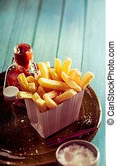 gyllene, fräsa, frasiga, ketchup, fransk
