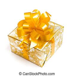 gyllene, gåva, gul, bog, papper, bakgrund, vit, packat, ...