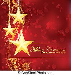 gyllene, god jul, stjärnor, på, röd, bokeh, bakgrund