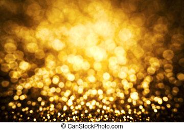 gyllene, guld, festlig, abstrakt, kort, bakgrund, glitter, jul