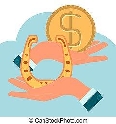 gyllene, hästsko, dollaren myntar, räcker