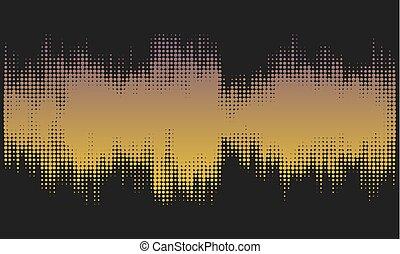 gyllene, halftone, sammandrag formge, bakgrund, in, den, bilda, av, wave.