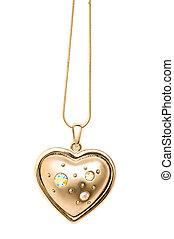 gyllene, halsband, isolerat, på, den, vit fond