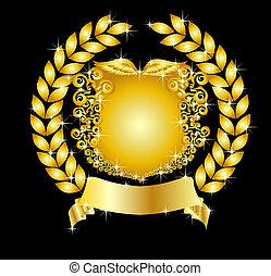 gyllene, heraldisk, krans, skydda, lager