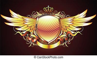 gyllene, heraldisk, skydda