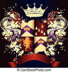gyllene, heraldisk, skydda, virvlar