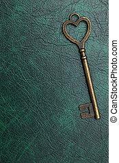 gyllene, hjärta gestaltade, nyckel