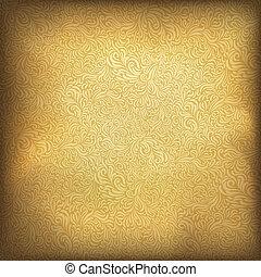 gyllene, illustration, årgång, eps10., bakgrund., vektor