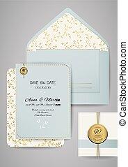 gyllene, illustration., ornament., kuvert, hälsning, inbjudan, vektor, mall, bröllop, blommig, kort, design.