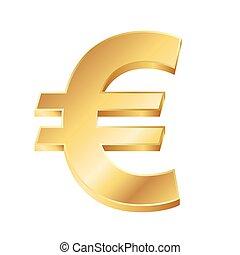 gyllene, illustration, underteckna, vektor, bakgrund, vit, euro